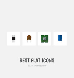 Flat icon appliance set of transistor receiver vector