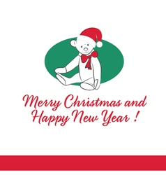 Gift Card with Teddy Bear Merry Christmas vector image