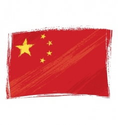 grunge China flag vector image vector image