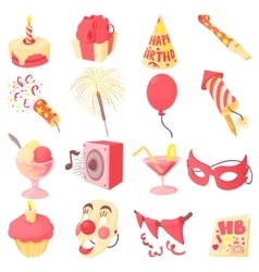 Happy birthday icons set cartoon style vector image