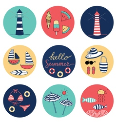 Hello summer icons circle colorful vector