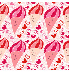 Ice cream seamless pattern sweet doodle texture vector
