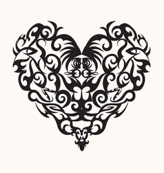 Isolated black creative design heart tattoo vector
