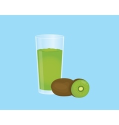 kiwi smoothie juice with fruit and a glass of the vector image