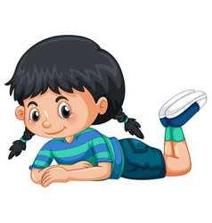 Little girl with black hair vector