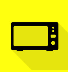Microwave sign black icon with flat vector