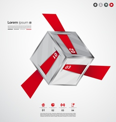 Modern cube origami infographic vector image vector image