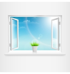 Open white window with flowerpot vector