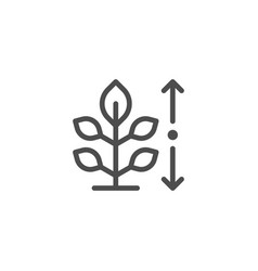 plant height line icon vector image vector image