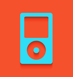 Portable music device whitish icon on vector