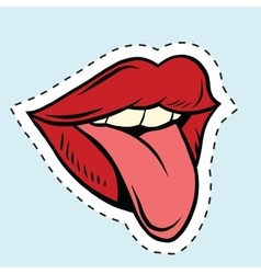 Pup art mouth and tongue sticker label vector