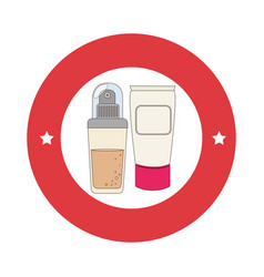 Red circular border with spray with cream bottle vector