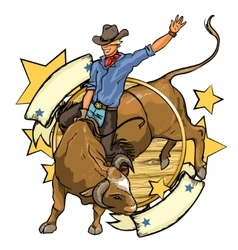 Rodeo cowboy riding a bull label design with vector