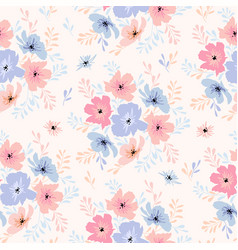 Seamless floral pattern with cosmos flowers vector