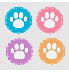Set of four labels with paw print Card vector image vector image