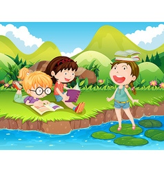 Three girls reading books by the river vector image vector image