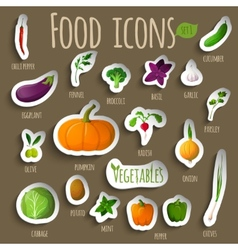Vegetable stickers set vector image vector image