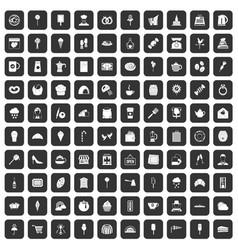 100 patisserie icons set black vector