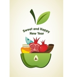 Apple slice with rosh hashanah symbols vector