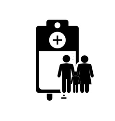 Iv drip bag and family pictogram icon vector