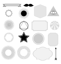 Set of vintage sunburst symbols labels tags vector