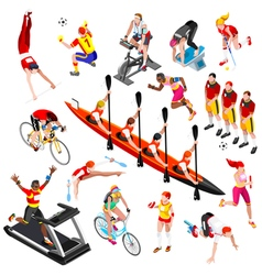 Sport isometric sportsmen olympic game set vector