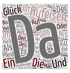 Das hufeisen ein symbol des glucks text background vector