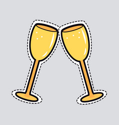 Two golden clinking glasses cut out of paper vector