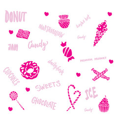 Hand drawn sweet products set vector