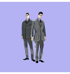 Sketch mans in fashion clothes eps vector