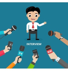 Media conducting a press interview vector