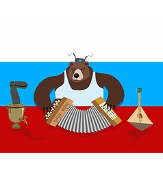 Russian bear plays the accordion russian flag vector