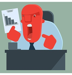 Angry boss is dissatisfied with results vector