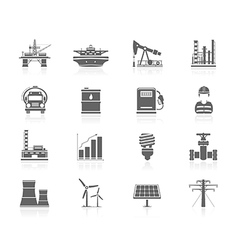 Black icons - industry and energy vector