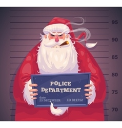 Bad santa in police christmas greeting card vector