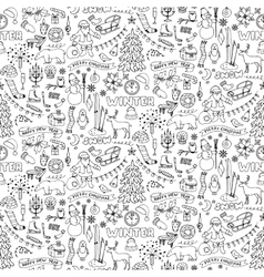Winter hand drawn seamless pattern vector
