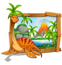 Wooden frame with dinosaur at the lake vector image