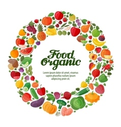 Fruit and vegetable icons organic food vector