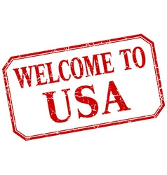Usa - welcome red vintage isolated label vector