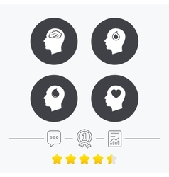 Head with brain icon male human symbols vector