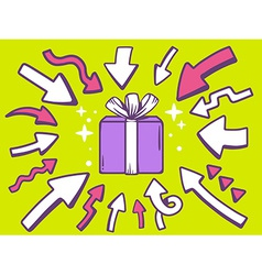 arrows point to icon of gift box on green vector image vector image