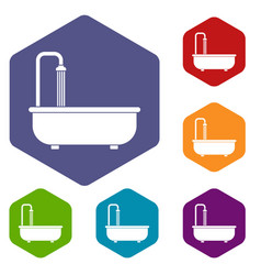 Bathroom icons set hexagon vector