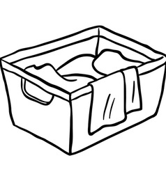 black and white laundry basket vector image