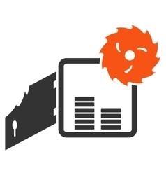 Broken bank safe flat icon vector