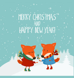 cartoon for holiday theme with fox on winter vector image vector image