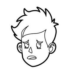 character face head boy cry outline vector image