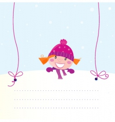Christmas girl holding banner vector image vector image