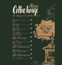 Coffee menu with price list and coffee grinder vector