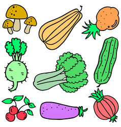 Collection of vegetable set doodles vector