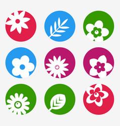 digital blue flowers set icons vector image vector image